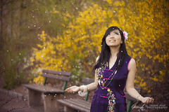 It's raining cherry petals (InsaneAnni) Tags: portrait germany cherry costume spring vietnamese dress traditional blossoms frhling chemnitz kostm tracht kirschblten   vietnamesin