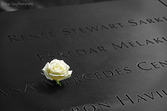 Forever remembered... (Nathan Tung Photography) Tags: world new york city nyc flowers ny flower memorial remember 911 ground center 11 september trade zero