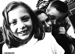Friends (John Neilan 50) Tags: park bw kids fun rebecca william jade pentaxk100d photoshopelements10 johnneilan