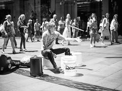 Streets of Sydney (JYap89) Tags: street city bw drums voigtlander sydney performing australia panasonic buckets busking nokton 25mm f095 m43 gx7 micro43