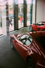 Red Beauty (SlickCZ) Tags: reflection red ferrari reddress prague street car rain trio window yashicaelectro35gt fujifilmsuperia400 film analogue realraw racing