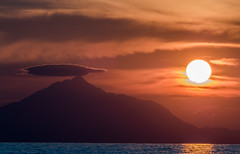 Wonderful Greek Sunset & Mount Athos ( View from Myrina Town) - Lemmnos (Olympus OMD EM5II & mZuiko 40-150mm f2.8 Telephoto) (1 of 1) (markdbaynham) Tags: sky cloud colour island greek north aegean hellas olympus mount greece grecia omd athos oly mz limnos hellenic m43 zd mft lemnos myrina em5 micro43 micro43rd mc14 mzuiko m43rd em5ii zuikolic