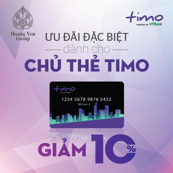 GIẢM 10% CHO CHỦ THẺ TIMO