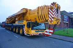 Ainscough Crane Hire.5.45am (stonetemplepilot5) Tags: crane ainscough yellow heavyhaulage dumfries scotland sony sonya6000 a6000 flash early