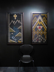 Contemplation (Steve Taylor (Photography)) Tags: blue red newzealand mountain black alps art field yellow museum river chair cross wheat nz southisland maori lowkey tapestry contemplation