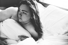 suburban smell (kristen t. cates) Tags: kristen cates photography suburban smell girl black white freckles bed morning suburbs eyebrows brown hai hair red head sheets sheet bedsheets bedroom fear whos there canon 60d