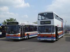 [T728OEF] & [G186JHG] - Stagecoach, Morecambe Depot (28/05/16) (David's NWTransport) Tags: man alexander leyland olympian leylandolympian alexanderalx300 alx300 man18220 g186jhg t728oef