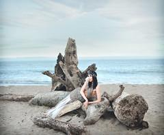 Emily Kay (Michelle.A.M.) Tags: ocean california blue sea sky woman black beach hair wire model eyes sand handmade foggy peaceful driftwood beached crown serene vibes elegant mermaid selkie whimsical