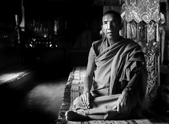 Monk (cknara) Tags: lahul spiti kee monastery buddhism buddhist sacred blackandwhite monochrome himalayas himachal