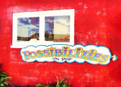 Possibilities - the Shop (Steve Taylor (Photography)) Tags: possibilities art digital sign shop window green red black blue mauve purple fun glass newzealand nz southisland plant reflection texture