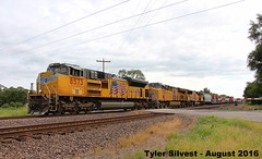 UP 8573 Leads EB Manifest 8-12-16 (KansasScanner) Tags: up unionpacific railroad train loring bonnersprings kansas