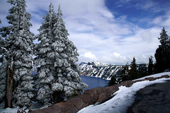 A snowy May afternoon at Crater Lake National Park (Emily Kistler) Tags: cold craterlakenationalpark d750 np nationalpark nature nikon oregon outdoors pacificnorthwest park snow vacation pinetrees trees may travel usa unitedstates america landscape clouds sky blue weather