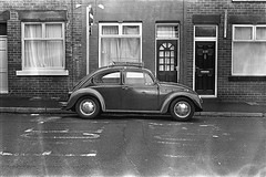 Beetle (the_anachronist) Tags: beetle vw car bw monochrome 35mmfilm 50mm f18d nikon f55 nikkor hp5 ilfords iso400 selfdeveloped developing life outdoors street urban vintage old yorkshire german