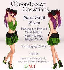 Muse Outfit Green Ad Pic (moonlitecat) Tags: hunt your inner slut moonlitecat creation mesh slink belleze maitreya fimesh rigged high heel collar gacha spikes leather punk skirt haltertop halter top laced vest mens men women womens moon moonlite hudded texture change
