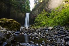 Abiqua Falls Wide with Sun Rays (Gwmullis) Tags: oregon gregmullisphotography abiqua falls waterfall
