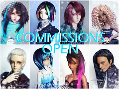 Commissions open (Kimirra) Tags: wig mohair bjd commission abjd colorfulwig colorfulhair dollwig angorawig kagamidesign