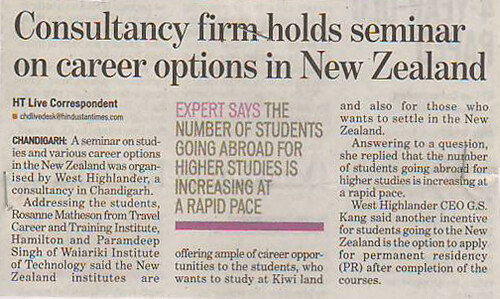 West Highlander Held Seminar on Studies and Career Options in New Zealand