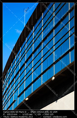 Office buildings (__Viledevil__) Tags: life city blue sky urban espaa cloud color reflection building window glass metal architecture modern facade silver outdoors office europe downtown day exterior turquoise district steel nobody scene structure architectural business styles cdiz financial built feature descriptive