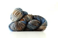 Terra e Cielo (LianaB.) Tags: handpaintedyarn handmade blu silk cielo handpainted terra seta arancione marrone setatussah setatintaamano