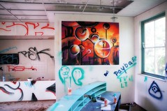 Hidden art (in dilapidated school) (Dannis van der Heiden) Tags: school art wall contrast paint hidden dilapidated arcen limburg paybas rootsenweg