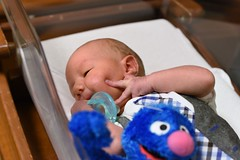 Grover Photo Bombing (donna_0622) Tags: baby hospital grover sesamestreet nikon d750 photobomb