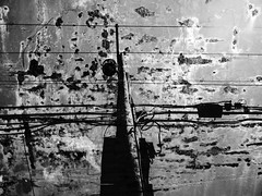 Electrical Pole in Hell (Rossdxvx) Tags: urban blackandwhite usa abstract art texture silhouette contrast dark outdoors rust experimental noir shadows gloomy grim outdoor decay surrealism urbandecay hell lofi surreal hellish overlay gritty eerie textures overexposed grime dilapidation decaying blight dilapidated textured