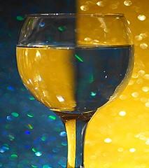 Macro Mondays - Opposites (sylviamay1963) Tags: macromondaysopposites gold turquoise wine glass bokeh colourful sparkles sonya58 tamron 90mm macro water nowastageofalcohol