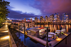 La Vida Vancouver (TIA International Photography) Tags: vancouver britishcolumbia canada false creek granville island marina dock port aquabus boat sailboat yacht houseboat pier water reflection cityscape city urban landscape twilight bluehour evening dusk promenade walkway boardwalk tree post transportation yaletown skyscraper building sky illumination bridge residence plank waterfront travel station