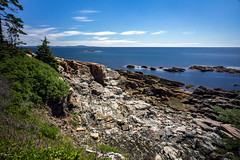 View from the Ocean Path (The Burgys) Tags: longexposure acadianationalpark maine ocean trees rocks clouds blue sony a99 sonya99 zeiss1635