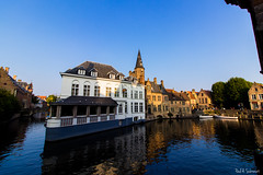 Bruges Canals 1 - October 2015 (Paul Subrenat) Tags: bruges belgium canals veniceofthenorth wideangle sunset water europe canon oldstone brick oldcity