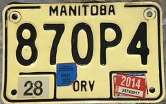 MANITOBA 2014 OFFROAD VEHICLE LICENSE PLATE ---NON REFLECTIVE with SNOPASS STICKERS (woody1778a) Tags: manitoba orv offroad vehicle licenseplate numberplate registrationplate mycollection myhobby signs snowmobile alpca1778 npcc196