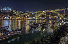 Along Douro river (aurlien.leroch) Tags: europe portugal porto night cityscape longexposure nikon d7100 bridge gold or lusibridge douroriver