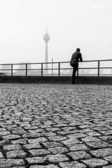 3548 (explored) (.niraw) Tags: dsseldorf strasenfotografie burgplatz rheinturm bw niraw kopfsteinpflaster gelnder mann dunst