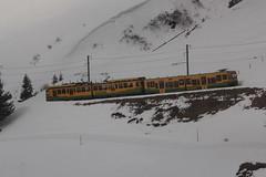 Triebwagen BDhe 4/8 131 der Wengernalpbahn WAB mit Taufname Lauterbrunnen ( Baujahr 1988 => Zahnradbahn - Schmalspur 800mm => Hersteller SLM Nr. 5363 ) unterhalb der Kleinen Scheidegg im Berner Oberland im Kanton Bern der Schweiz (chrchr_75) Tags: chriguhurnibluemailch christoph hurni schweiz suisse switzerland svizzera suissa swiss chrchr chrchr75 chrigu chriguhurni april 2015 schweizer bahnen eisenbahn bahn train treno zug albumzzz201504april albumbahnenderschweiz albumbahnenderschweiz201516 juna zoug trainen tog tren  lokomotive  locomotora lok lokomotiv locomotief locomotiva locomotive railway rautatie chemin de fer ferrovia  spoorweg  centralstation ferroviaria zahnrad zahnradbahn bergbahn mountaintrain cogwheel crmaillre cremallera albumwabwengernalpbahn wab wengernalpbahn schmalspur schmalspurbahn