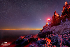 Red Lantern (Mike Blanchette) Tags: nightphotography lighthouse seascape coast maine newengland aurora northernlights auroraborealis seacoast tremont bassharbor bassharborheadlight bassharborlight starphotography