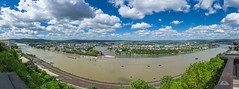 The Rhine and Moselle Rivers Meet (Richard Adams Photography) Tags: panorama clouds train river germany gondola rhine fortress koblenz lightroom moselle rivercruise ehrenbreitstein kaiserwilhelmmemorial
