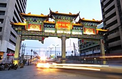 chinatown, manila arch (DOLCEVITALUX) Tags: sunset arch outdoor philippines manila binondo largest chinatownarch largestchinatownarch
