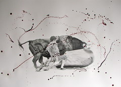 Pas De Deux. (www.kevinmaxwellsfineart.com) Tags: bulls bullfighting josetomas graphite chinagraph blood anegitive blackandwhite toros torosymatadores matadores drawing spanish espana pasdedeux