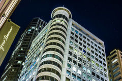 over the french consulate (pbo31) Tags: sanfrancisco california nikon d810 color july 2016 summer boury pbo31 urban night dark black unionsquare financialdistrict city kearnystreet architecture contemporary white french consulate citibank tower