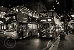 London Nov 2015 (7) 017 - Bus jam on Oxford Street (Mark Schofield @ JB Schofield) Tags: park christmas street city winter england white black london monochrome canon fairground carousel hyde oxford rides nightlife wonderland stalls 5dmk3