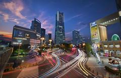 These Yokohama Streets (muuu34) Tags: yokohama sakuragicho minatomirai mm21 landmark tower long exposure photography manual blend artistic colorful sky light trails traffic streaks city urban metropolis cityscape wide angle tamron 1530 nikon d750 musashi sakazaki