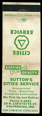 Sutton's Cities Service in Valparaiso, Indiana - Matchcover (Shook Photos) Tags: match matches matchcover matchcovers matchbook matchbooks promotion promotional advertise advertisement advertising suttonscitiesservice valparaisoindiana valparaiso indiana portercounty