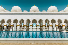 Grand Mosque Abu DHabi (Nick Sloter) Tags: blue colors architecture nikon colorful geometry religion uae wide bluesky mosque symmetry abudhabi islamicarchitecture sigma1020mm religiousarchitecture nikond5100