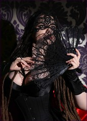Savra (sulisloveswater) Tags: lady lace fan mask bodice hands eyes black hair rags red