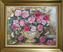 Pink roses still life. (Oil&Watercolor paintings by Elena) Tags: pink roses stilllife paletteknife painting oil canvas original wallart