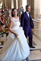 Happiest day (jeremyhughes) Tags: people gown wedding bride vatican stpeters stpetersbasilica cathedral basilica church woman dress suit couple joy happiness blessing ceremony religion christian white glasses smile smiling happy nuptials bowtie tie public nikon d750 sigma 50mm 50mmf14 50mmf14dghsmart lace frock spontaneous grabshot