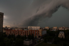 Shelf cloud (modestmoze) Tags: shelfcloud clouds cloudy stormclouds storm city vilnius architecture nature grass trees green lithuania 2016 500px day buildings houses brown windows yellow dark cars streets parked moving closing closingin sky blue white grey black shadows