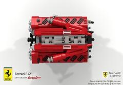 UCS Tipo F140 FC V12 Engine (lego911) Tags: ferrari f12 berlinetta coupe tdf tour de france v12 auto car moc model miniland lego lego911 ldd render cad povray 2016 2010s italy ltalian supecar sportscar lugnuts challenge 106 exclusiveedition exclusive edition ucs engine motor f140 fc tipo