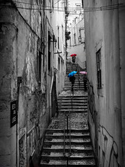 Stairway - Beco dos Lios - Lisbon, Portugal (Sebastian Bayer) Tags: schirm houses people becodoslios outdoor vacation treppe alley drausen regen dark treppen upstairs lissabon selectivecolor olympus architektur blackandwhite street gasse regenschirm portugal stairs raining rain bw graffity lisboa urlaub graffiti umbrella architecture huser menschen stairway selektivefarben omd