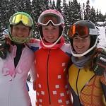 Ladies' U16 Slalom (left to right) Elvedina Rija (3rd); Nikola Bubakova (1st); Catherine Dufresne (2nd)
